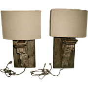 Wooden Sconces Half Shades Electrified 19th C France