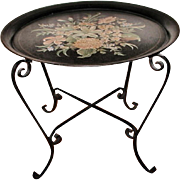 Folding Tole Tray Table France 19th C Hand Painted
