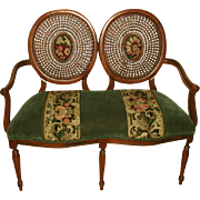 Balloon Back Settee  Fruitwood Velvet Tapestry Early 1900's