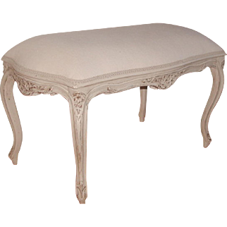French Stool Bench 19th C New White Linen Seat