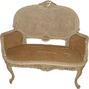 French Caned Settee Hand Carved Late 19th Century