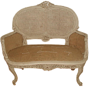 French Caned Settee Late 19th C Hand Carved