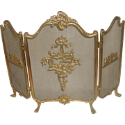 Decorative Brass Firescreen With Love Birds Early 1900's