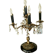 Brass Marble Lamp With Prisms Rewired Early 1900's