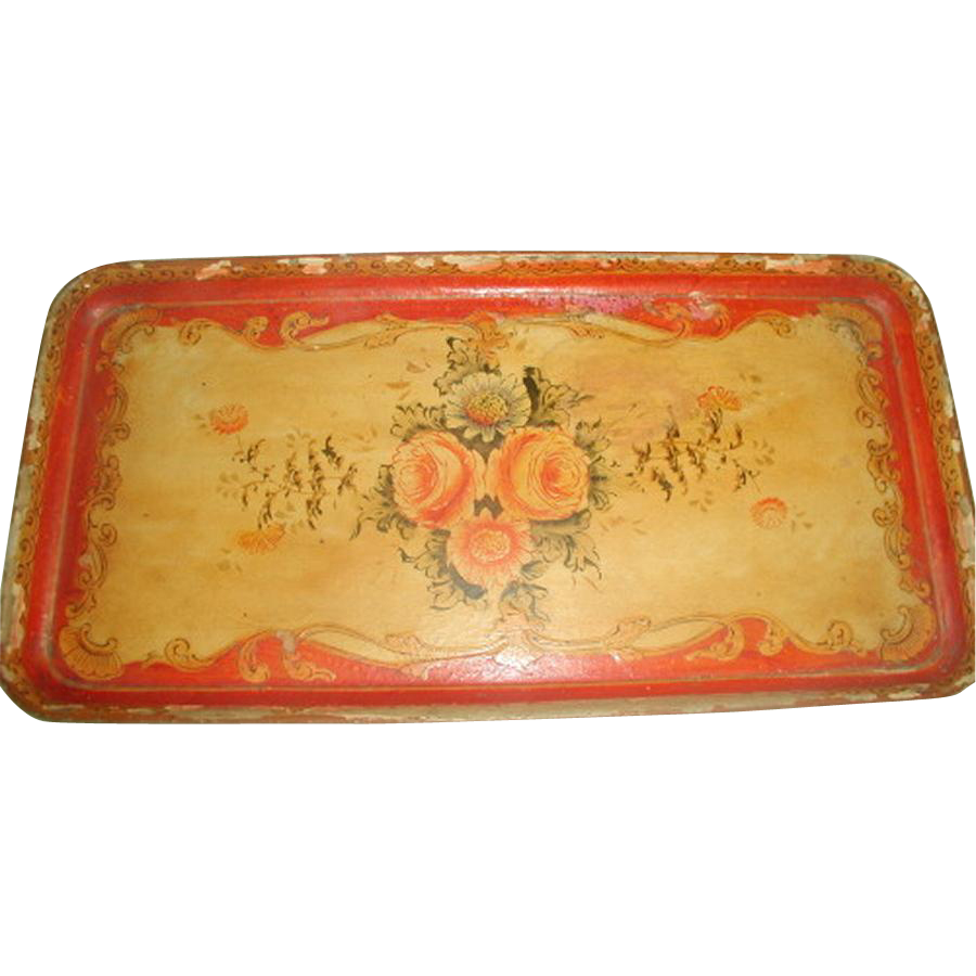 Papier Mache Tray Early 1900's Vibrant Hand Painted