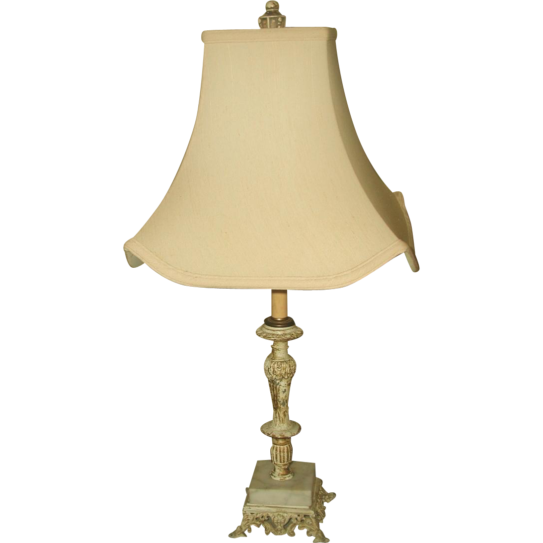 Metal Marble Lamp Rewired Early 1900's