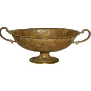 Italian Footed Bowl Metal Early 1900's Dual Handles