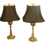 Bronze French Lamps Rewired New Silk Shades