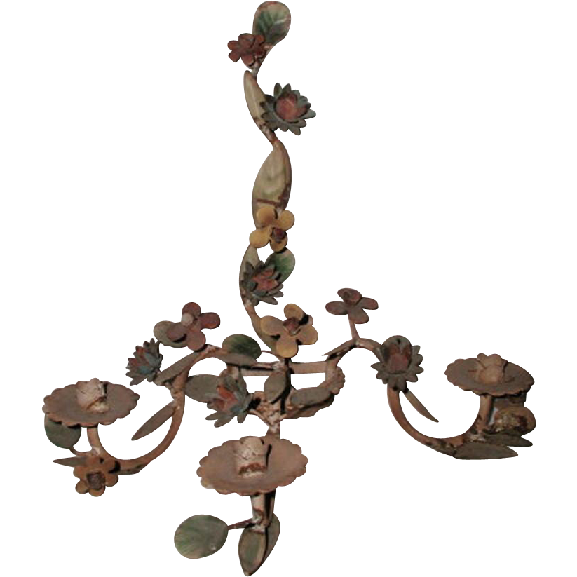 Italian Floral Sconce Early 1900's Original Paint