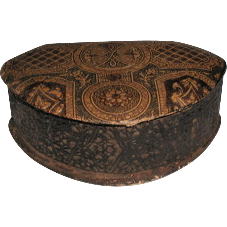 Leather Dresser Box Incised Designs Italy Early 1900's