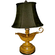 Aladdin Tole Lamp Yellow Black Early 1900's Rewired