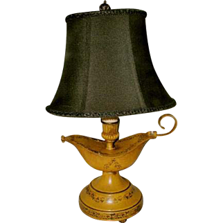 Yellow Tole Lamp Aladdin Style Rewired New Shade Early 1900's