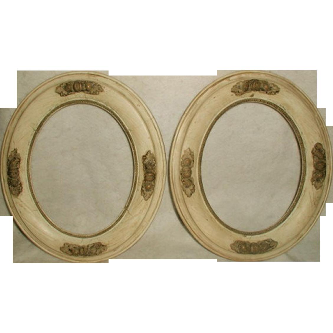 Italian Acorn Frames 19th Century Oval Wooden