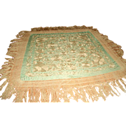 Silk Piano Throw Italian 19th C Silk Macrame Fringe