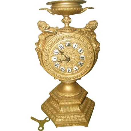 Mayer Gilt Clock Cherubs 8 Day C.1890-1900