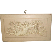 French Cherub Plaque Carved 19th Century
