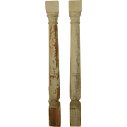Italian Half Wall Columns Wooden 19th Century Original Paint