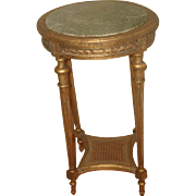 Gilt Marble Table France 19th Century Carved Caned