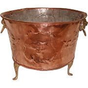 Planter Fireplace  Hod England 19th Century Hand Forged Copper Brass