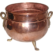 Copper Brass Planter England Hand Forged 19th Century