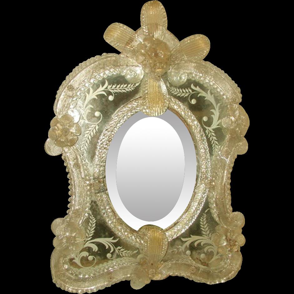 Venetian Mirror 19th Century Beveled Hand Painted Designs