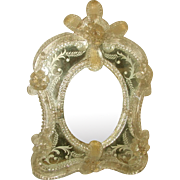 Venetian Mirror 19th Century Beveled Hand Painted Designs