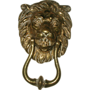 Lion Door Knocker France  19th Century Brass Large