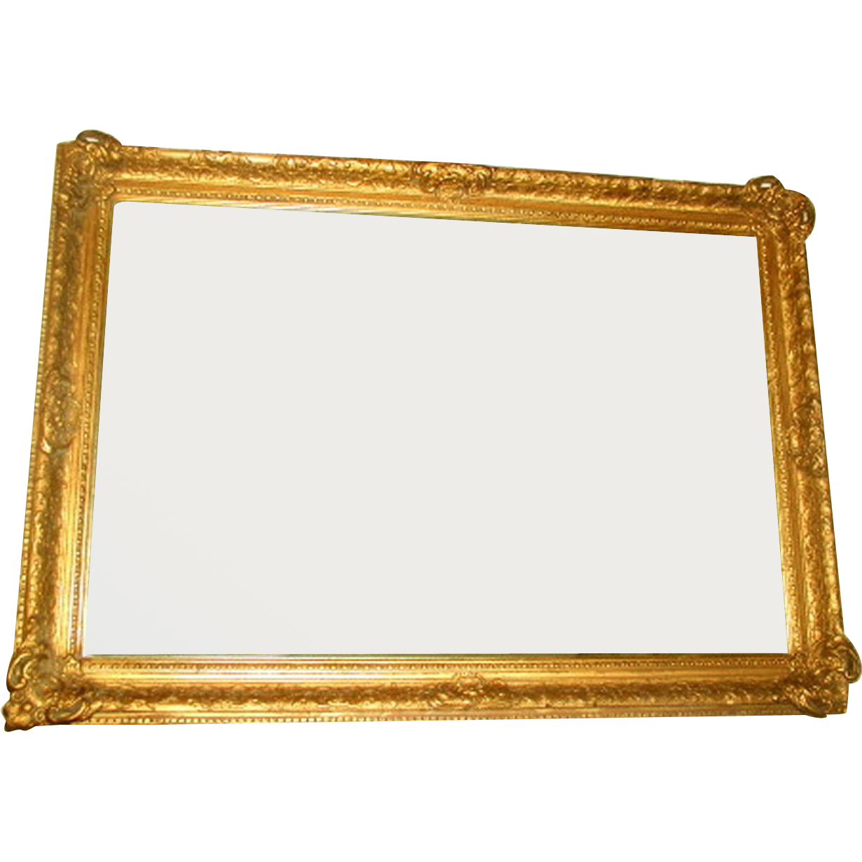 French Gilt Mirror Beveled Carved Mid 19th Century