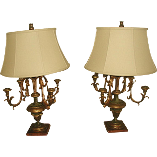 Italian Candelabra Lamps Converted Rewired Early 1800's