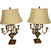 Pair Italian C.1800's Candelabras Converted to Lamps Hand Carved