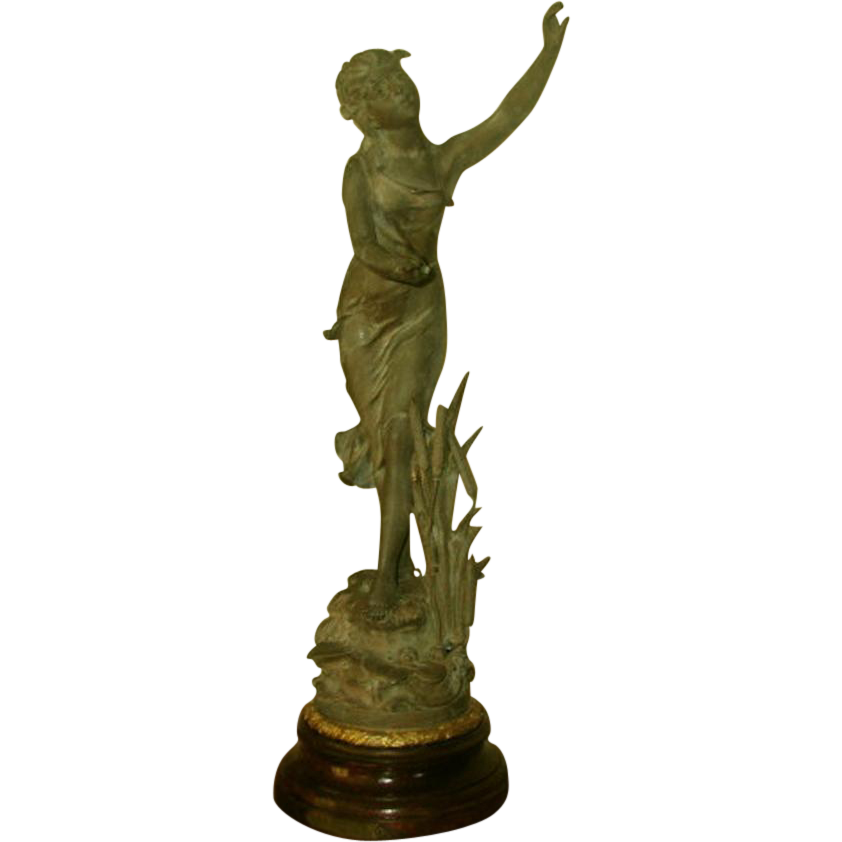 "Signed Sculpture ""La Nymphe"" Mahogany Base Early 1900's"