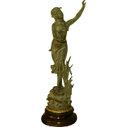 """La Nymphe"" Sculpture Signed Mahogany Base Early 1900's"