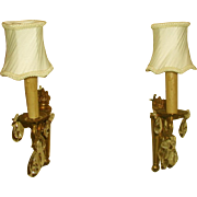 Brass Crystal Sconces France Rewired Early 1900's New Shades