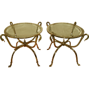 Neoclassical Duck Tables Brass Chrome Beveled Glass Pair