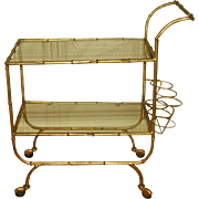 Italian Beverage Cart Gilt Metal Glass Shelves 20th Century