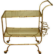 Italian Beverage Cart Gilt Metal Glass Shelves