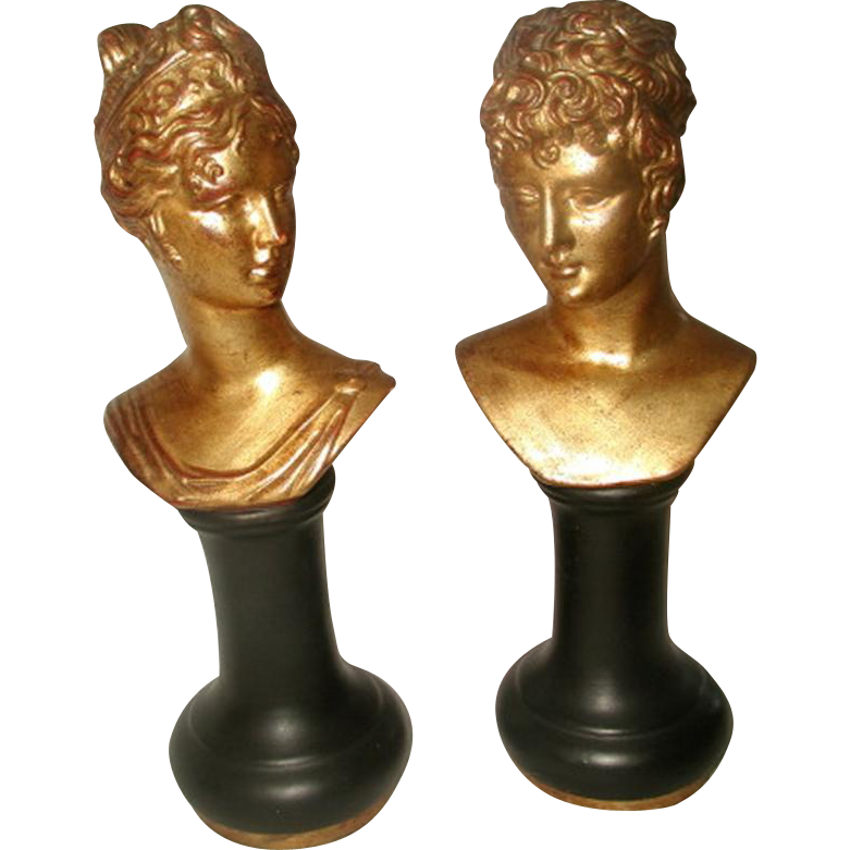 Pair Porcelain Busts Italy Gilt Black Early 1900's