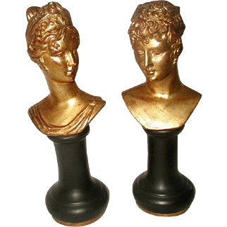 Roman Porcelain Busts Italy Gilt Black Early 1900's