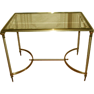 Brass Pewter Italian Neoclassical Coffee Table