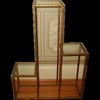 Gilt Shelf Table Metal Glass Unusual