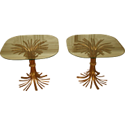 Hollywood Regency Tables Gilt Metal Wheat Sheaf Bases