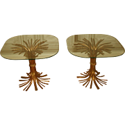 Hollywood Regency Tables Gilt Wheat Sheaf Bases 20th C