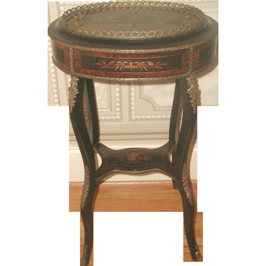 Inlaid Italian Table 19th Century Bronze Mounts