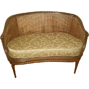 French Caned Settee 19th C Gilt Newly Upholstered Cushion