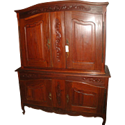 French Walnut Armoire Cabinet 19th Century