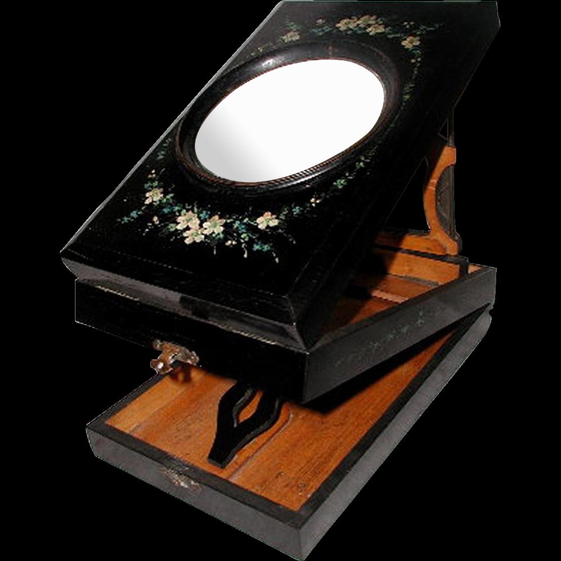 English Graphoscope Magnifier 19th C Papier Mache