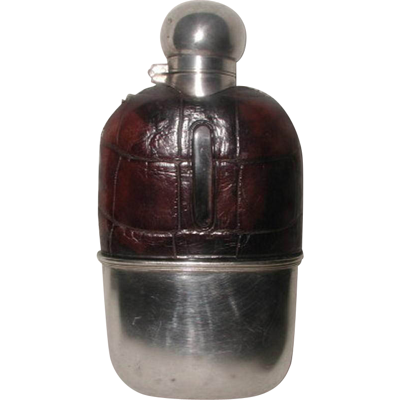 Alligator Silver Flask With Cup 19th Century England