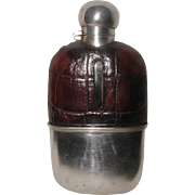 Alligator Silver Flask England With Cup 19th Century