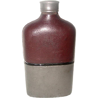 English Leather Flask Nickel Base 19th Century