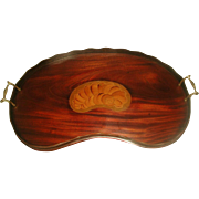 Galley Walnut Tray England 19th C Inlaid Kidney